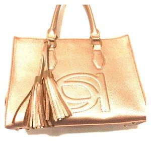 NWT bebe Poppy Shopper Rose Gold Purse